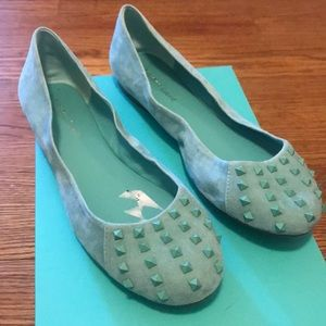 Teal blue spiked flats